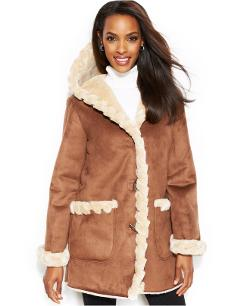 Jones New York  - Faux-Fur-Trim Toggle Walker Coat