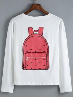 Romwe - Schoolbag Print T-Shirt