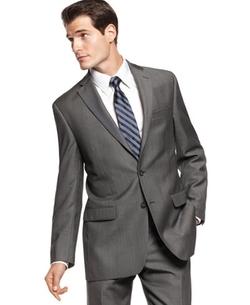 Calvin Klein  - Charcoal Pindot Wool Slim Fit Jacket