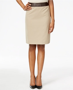 Tahari ASL - Faux-Leather-Trim Bi-Stretch Pencil Skirt