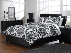 Aeolus Down  - Printed Microfiber Mini Duvet Cover Set, King, Black and White Damask