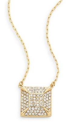 Vince Camuto  - Glam Punk Pavé Square Pendant Necklace