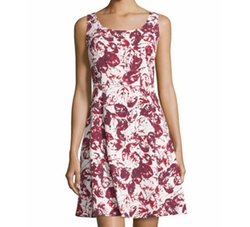 Oscar De La Renta - Printed Sleeveless Fit-And-Flare Dress