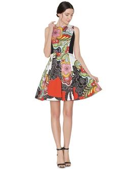 Alice + Olivia - Adrianne Boatneck Mini Flare Dress