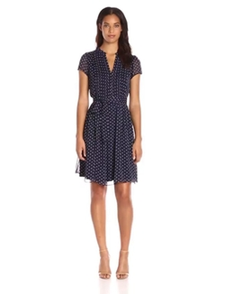 MSK - Polka Dot Woven Pintuck Shirt Dress