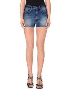 (+) People - Faded Effect Denim Shorts