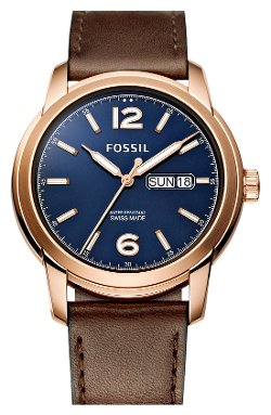 Fossil Swiss - Round Leather Strap Watch