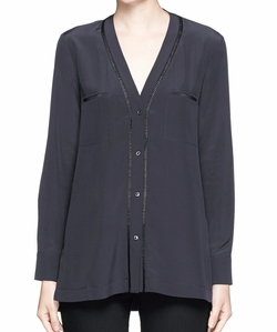 Vince - Ladder Stitch Crepe De Chine Shirt