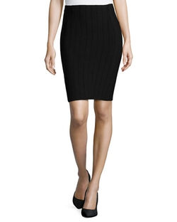 Neiman Marcus - 3-D Vertical Striped Pencil Skirt