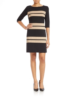 Taylor - Striped Bateau-Neck Sheath Dress