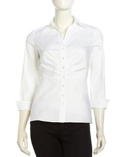 Lafayette 148 New York  - Ruched-Front Poplin Button-Down Blouse