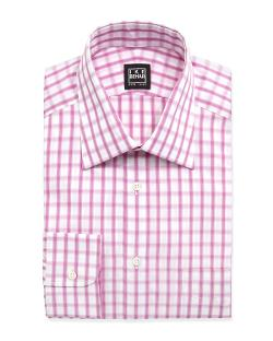 Ike Behar  - Long-Sleeve Checked Poplin Dress Shirt, Dusty Rose