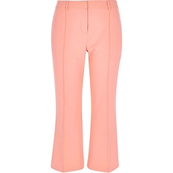 River Island - Light Pink Cropped Kick Flare Pants