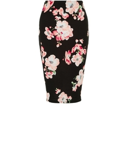 Ideal 5 Garments - Floral Print Pencil Skirt