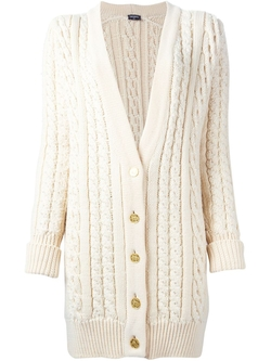 Chanel Vintage - Pearl Embroided Cable Knit Cardigan