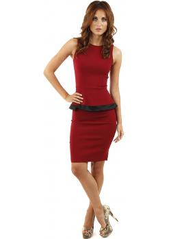 Vesper Stevie - Wine Peplum Pencil Dress With Contrast Trim
