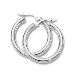 Blue Dolphin Gold - Medium Tube Hoop Earrings