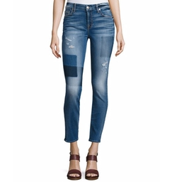 7 For All Mankind - The Ankle Skinny Patch Distressed Jeans