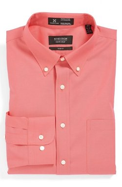 Nordstrom  - Solid Pinpoint Cotton Trim Fit Dress Shirt