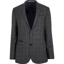 River Island - Dark Grey Check Slim Suit Jacket