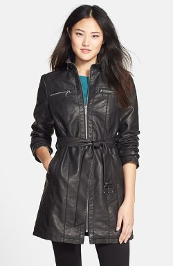 Kenneth Cole New York - Belted Faux Leather Coat