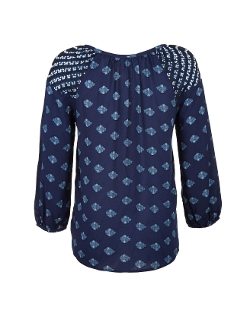 Velvet - Long Sleeve Printed Placket Blouse