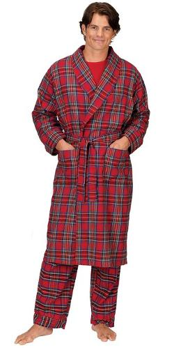 The Pajamagram Company  - Red Brushed Cotton Flannel Steward Plaid Robe