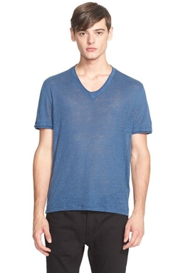 John Varvatos Collection - Linen Roll Trim V-Neck Tee Shirt