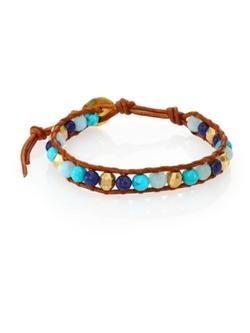 Chan Luu  - Turquoise Amazonite & Leather Beaded Bracelet