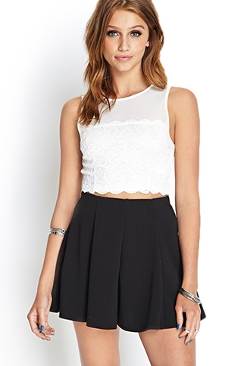 Forever21 - Lace & Mesh Crop Top
