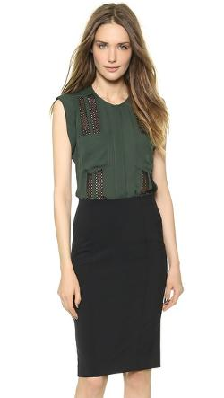 Veronica Beard - Sleeveless Lace Inset Blouse