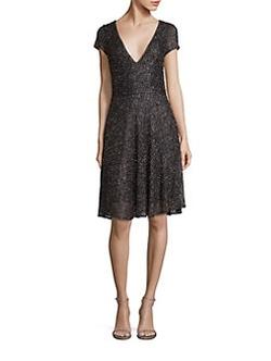 Badgley Mischka  - Beaded Fit-&-Flare Dress