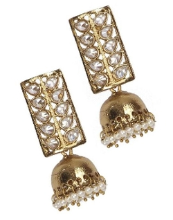Rajwadi - Kundan Adorned Jhumka Earrings