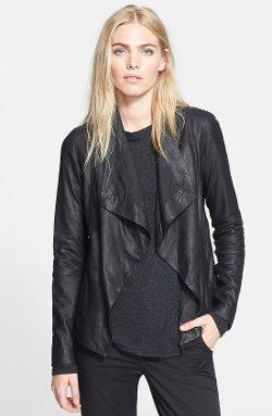 Vince - Drape Front Leather Jacket