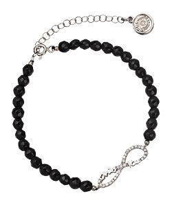 Max & Chloe - Silver Onyx Infinity Bracelet