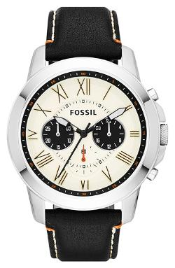 Fossil  - Grant Round Chronograph Leather Strap Watch
