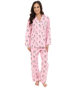 BedHead  - Classic Flannel Pink Penguins On Parade Pajama Set