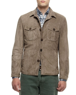 Brunello Cucinelli - Suede Shirt Jacket, Green