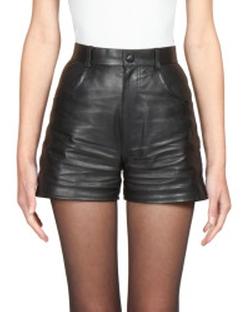Saint Laurent - Leather High-Waist Shorts