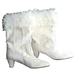 Chanel - White Fur Boots