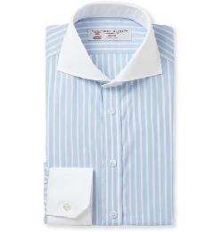 TURNBULL & ASSER   - BLUE SLIM-FIT CONTRAST-COLLAR COTTON SHIRT