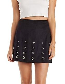 Charlotte Russe - Grommet-Embellished Faux Suede Skirt