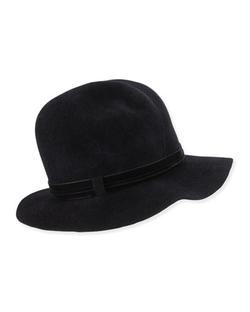Gigi Burris - Nell Felted Velvet-Trim Fedora Hat