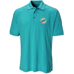 Cutter & Buck - Mens Miami Dolphins Aqua Genre Polo Shirt