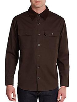 Saks Fifth Avenue BLUE  - Wax Cotton Button-Front Jacket/Trim-Fit