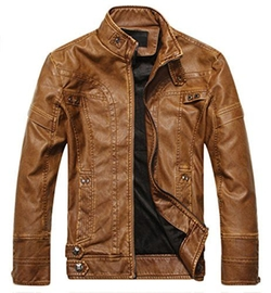 Chouyatou - Stand Collar Leather Jacket