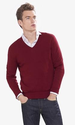 Express - Cotton-Cashmere V-Neck Sweater