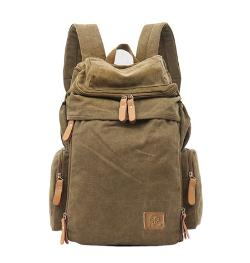 ManJH - Canvas Hiking Backpack for Men Travel Backpack