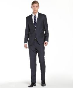HUGO BOSS  - Dark Blue Check Virgin Wool 2-Button Suit With Flat Front Pants