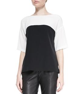 Vince - Silk Colorblock Short-Sleeve Blouse